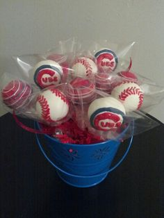 Chicago Cubs cake pops by www.LetsEatCakePops.com