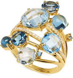 Blue Topaz (9-1/4 ct. t.w.) and #Diamond (1/6 ct. t.w.) Ring in 14k #Gold