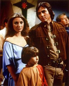 Serina (Jane Seymour), Boxey (Noah Hathaway) and Apollo (Richard Hatch) from Battlestar Galactica 'Saga of a Star World' (1978).