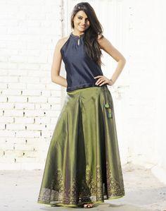 Silk Cotton Printed Ghera Skirt Set