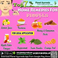Apply some apple cider vinegar. Make a cinnamon and honey mask. The land of milk and honey (or yogurt) Whip up some 'whites. Papaya for the pimple prone. Make an orange peel paste.