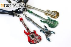 Items similar to Electric guitar-Computer Jewelry-Gibson-Cyber Keychain-Keychain-Key Chain-MJ on Etsy Recycled Jewelry, Recycled Art, Arte Tech, Beer Cap Art, Computer Chip, Computer Art, Cutlery Art, Punk Jewelry, Jewellery