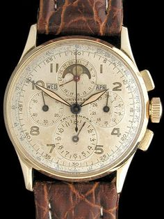Universal Geneve Tri Compax Vintage Chronograph in Yellow Solid Gold Case and Manual Wind Swiss Made 481 Movement Rolex, Swiss Luxury Watches, Breitling, Watches For Men, Men's Watches, Vintage Watches, Chronograph, Solid Gold, Tictac
