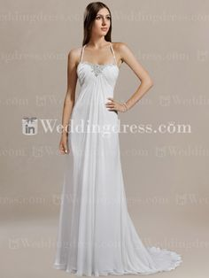 Halter Chiffon Beaded Wedding Gown with Corset Back DE198. nice for a hot summer wedding day!!