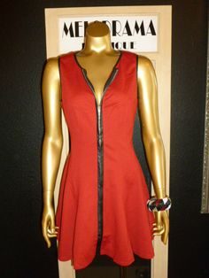Maroon Sleeveless dress with leather trim
