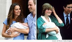 Kate Middleton seemed to pay a polka-dot tribute to Princess Diana as she emerged to present her newborn son to the world today