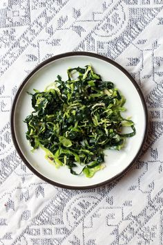 Shredded Brussels Sprouts and Kale Salad Recipe - Saveur.com  although i love sprouts pan seared or broiled in halves, this sounds good too