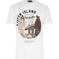 Ecru Staten Island print t-shirt £16.00