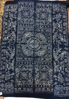 Asian Indigo Batik Fabric Vintage Chinese Batik by MorrisseyFabric