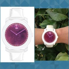 Authentic Movado Women's Watch % AUTHENTIC ✨ GORGEOUS  Don't miss this beautiful large women's watch from Movado  Eye catching pearlized white patent leather strap with purple lining Made in Switzerland Stainless steel case✨ Water resistant to 3 ATM. Buckle closure✨ Swiss quartz movement  Purple watercolor dial, sunray dot & hands, crystal set ring Made w/ Swarovski elements  Box included NO TRADE Movado Accessories Watches