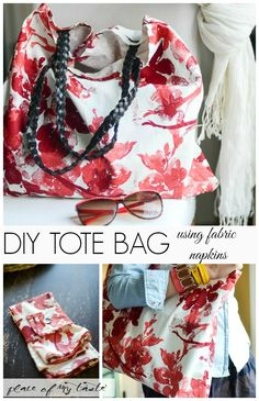 DIY TOTE BAG using fabric napkins. Can you believe it? Such an inexpensive way to give yourself a chic new bag! #DIYProjects #DIYTote