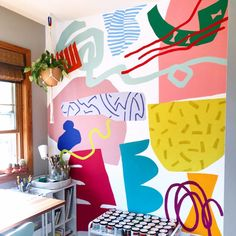 studio space with abstract mural on the wallYou can find Mural art and more on our website.studio space with abstract mural on the wall Illustrator, Mural Wall Art, Painted Wall Murals, Painting Murals On Walls, Art Paintings, Hippie Home Decor, Cheap Home Decor, Wall Design, Decoration