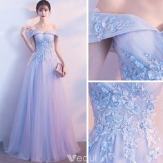 May 2020 - Chic / Beautiful Sky Blue Bridesmaid Dresses 2018 A-Line / Princess Lace Appliques Pearl Off-The-Shoulder Backless Sleeveless Floor-Length / Long Wedding Party Dresses Bridesmaid Dresses 2018, Blue Wedding Dresses, Homecoming Dresses, Dress Prom, Dress Wedding, Pretty Prom Dresses, Elegant Dresses, Formal Dresses, 60s Dresses