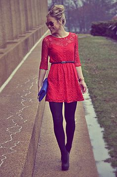 This red lace dress is comfortable and has the right amount of flair without going overboard. Paired with black tights and boots its the outfit for those who like to stay casual and stylish. Look Fashion, Autumn Fashion, Womens Fashion, Ladies Fashion, Dress Fashion, Fashion Clothes, Teen Fashion, Fashion News, Fashion Outfits