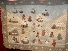 Reiko Kato- Village snow scenes with Sunbonnet Sue - applique quilt / wallhanging. Japanese / folk style
