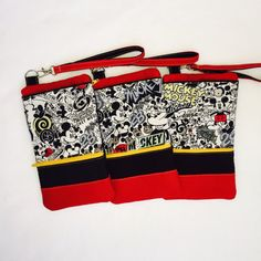 This rare Mickey wristlet is perfect for carrying your essentials when you dont want to carry a large handbag. Remove strap and this zipper pouch is great for staying organized and keeping your phone protected in a larger purse, and makes it easy to find.  5 wide x 8.75 tall- will accommodate any device up to 3.75 wide x 7 tall x 1/2 thick  *2 Zipper pockets + 1 slip pocket= 3 pockets total!  *Front has zippered pocket measuring 3 tall- perfect for cash, I.D. and credit cards *Front slip…