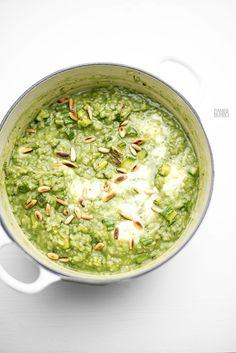 triple green risotto with bamboo rice, pesto, zucchini and stracciatella
