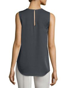 THEORY Melana Modern Georgette Sleeveless Top. #theory #cloth #