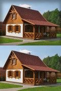 SENDOM.PL - Producent domów drewnianych A Frame House Plans, Small House Floor Plans, Small Tiny House, Tiny House Cabin, Small House Design, Style At Home, Timy House Plans, Rustic Outdoor Fireplaces, Cordwood Homes