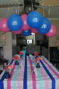 Gender Reveal Party: Decorate with Pink and Blue. Have guests wear pink or blue to the party to represent their guess. Then fill a cake or cupcake with pink or blue frosting--when you cut it open your guests will find out... Boy or girl?!