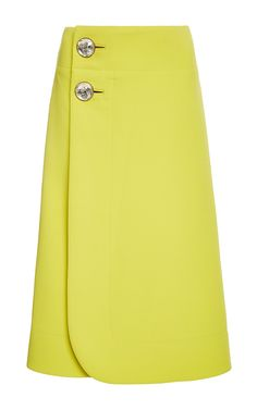 Marni Wraparound Wool Skirt With Jeweled Buttons