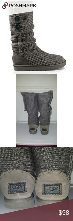 UGG knitted wool foldable UGG Women's Classic Cardy Boot Wool Blend Boots In Grey, Size 8   Have been used. Still in great condition. Have been in storage. UGG Shoes Winter & Rain Boots