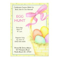 Easter Basket Egg Hunt Invitation