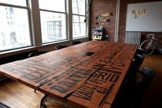 Vault49 silk-screened table on Typography Served Served