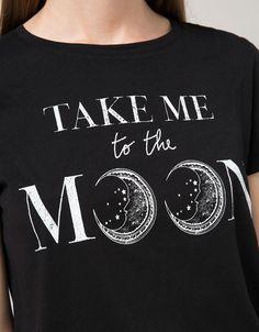 'T-shirt BSK estampada.Moon/Rul.' - T-shirts - Bershka Portugal