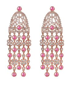 Jacob & Co.'s Jezebel Collection small Earrings with Pink Sapphires and Round Cut Diamonds #JacobArabo #JacobandCo. #earrings #pinksapphires #sapphires #rosegold #roundcutdiamonds #diamond #jezebel