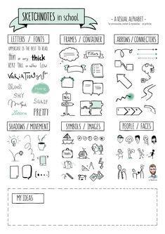 FREEBIE - Sketchnotes in School - Visual Alphabet & Exercises (English / international Version) - Sketchnoting, Visualization & Creativity Source by fraeuleinselbst outfits Cute Notes, Pretty Notes, Good Notes, Bullet Journal Notes, Bullet Journal Ideas Pages, Bullet Journal Inspiration, Visual Note Taking, Taking Notes, Note Doodles
