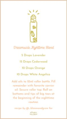 Dreamsicle Nighttime Blend Whimsy + Wellness Essential Oils For Headaches, Essential Oils Guide, Essential Oils For Sleep, Essential Oil Bottles, Essential Oil Perfume, Young Living Essential Oils, Essential Oil Blends, Roller Bottle Recipes, Herbal Oil