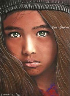Tableau portrait enfant bohème ethnique - format env.A4 - pièce unique avec pastel sec ~ SARAH ~
