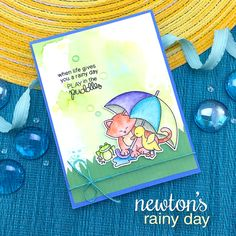Cat and Umbrella Card by Jennifer Jackson | Newton's Rainy Day stamp set and die set by Newton's Nook Designs #newtonsnook