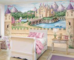 That's My Room Store - Princess Castle Wall Mural, $199.99 (http://www.thatsmyroom.com/princess-castle-wall-mural/)