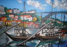 Ribeira no Porto - Pinturas, Matizes e Desenhos de António Rato: Óleo sobre Tela