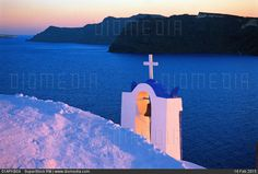 Greece cyclades santorini island oia village whitewashed bell tower and sea. Millions of premium Stock photos and illustrations created by leading commercial photographers, world-famous Museums, Historical Archives and Private Collections. Image ID: Santorini Island, Travel Images, Cn Tower, Greece, Places To Visit, Sea, Stock Photos, World, Greece Country