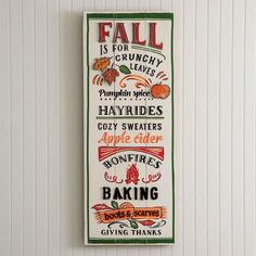 Fall Fun Wall Sign the beautiful colors of fall for your home during Autumn. Celebrate with friends and family bringing a warm home decor for all to embrace the season with. This item is made of wood and metal and hangs on the wall with a keyhole hanger.Measurement:12¾''W x 31½''H PRE ORDERETA 7/15/2021 Wood And Metal, Metal Walls, Fall Highlights, Blessed Sign, Warm Home Decor, Autumn Activities, Fun Activities, Fall Signs