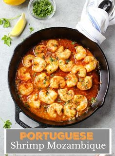 Portuguese Shrimp Mozambique cooked in a spicy garlic butter sauce and served over a bed of white rice! Portuguese Shrimp Recipe, Portuguese Recipes, Portuguese Food, Shrimp Stew, Seafood Stew, Shrimp And Rice, Fish Stew, Butter Shrimp, Seafood Dishes