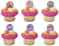 LaLaLoopsy face cupcake rings picks or cake toppers, perfect for your slumber, tea, or birthday party or as treat bag favors.  Sew cute-. $6.50, via Etsy.