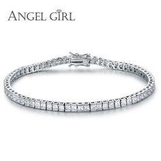 Angel Girl AAA + Элегантные Площади 4 мм Диаманта CZ Теннисные Браслеты для Женщин Белый Позолоченный Принцесса Cut CZ Свадьбы ювелирные изделия