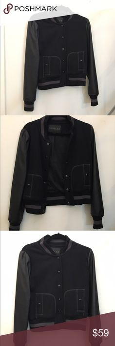 Rachel Zoe Black Leather Sleeve Baseball Jacket M Black baseball Jacket with faux leather sleeve detail, by Rachel Zoe. In great condition! Rachel Zoe Jackets & Coats Utility Jackets