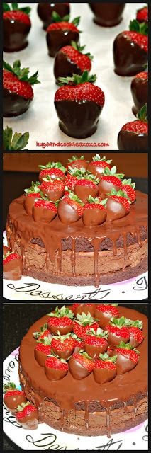 TRIPLE LAYER CHOCOLATE DIPPED STRAWBERRY CHEESECAKE - Hugs and Cookies XOXO