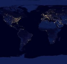 Earth by night urbanization satellite image world map classroom world map of cities at night the places with less light are very alluring to gumiabroncs Images