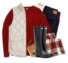"""""""Merry Christmas Eve"""" by steffiestaffie ❤ liked on Polyvore featuring American Eagle Outfitters, J.Crew, Merona, Tory Burch, Hunter, Kate Spade and Michael Kors"""