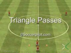 Triangle Passing, Third Man Runs And Moving Off The Ball Soccer Drills Soccer Dribbling Drills, Soccer Passing Drills, Football Coaching Drills, Soccer Training Drills, Soccer Drills For Kids, Soccer Workouts, Team Coaching, Soccer Practice, Soccer Skills
