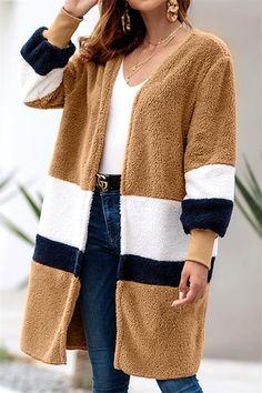 6959339e9b521 2018 Autumn Winter Patchwork Cardigan Long Coat Women O-neck Long Sleeve  Casual Outerwear Women Plus Size Loose Warm Velvet Coat