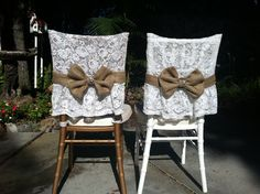 I made these lovely Lace chairs covers with a burlap bow and a crystal center for my Bride and Groom!! Who knew these two treatments work so well together!