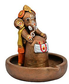 ExclusiveLane Terracotta Copper Finish Baby Ganesha With Lord Shiva Clay Ganesha, Ganesha Art, Ganapati Decoration, Decoration For Ganpati, Clay Art Projects, Clay Crafts, Traditional Wind Chimes, Ganesh Photo, Saraswati Goddess