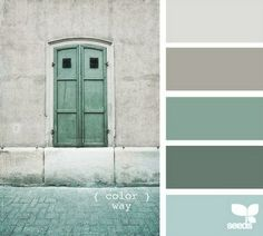 color palette blues and greys - not sure if this blue is too minty for you, but this could also be beautiful in a kitchen/living situation.